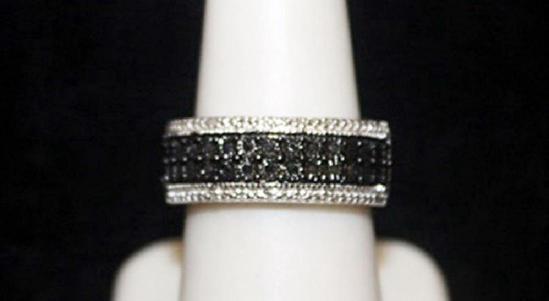Fancy Silver Ring with Black & White Diamonds (109I)