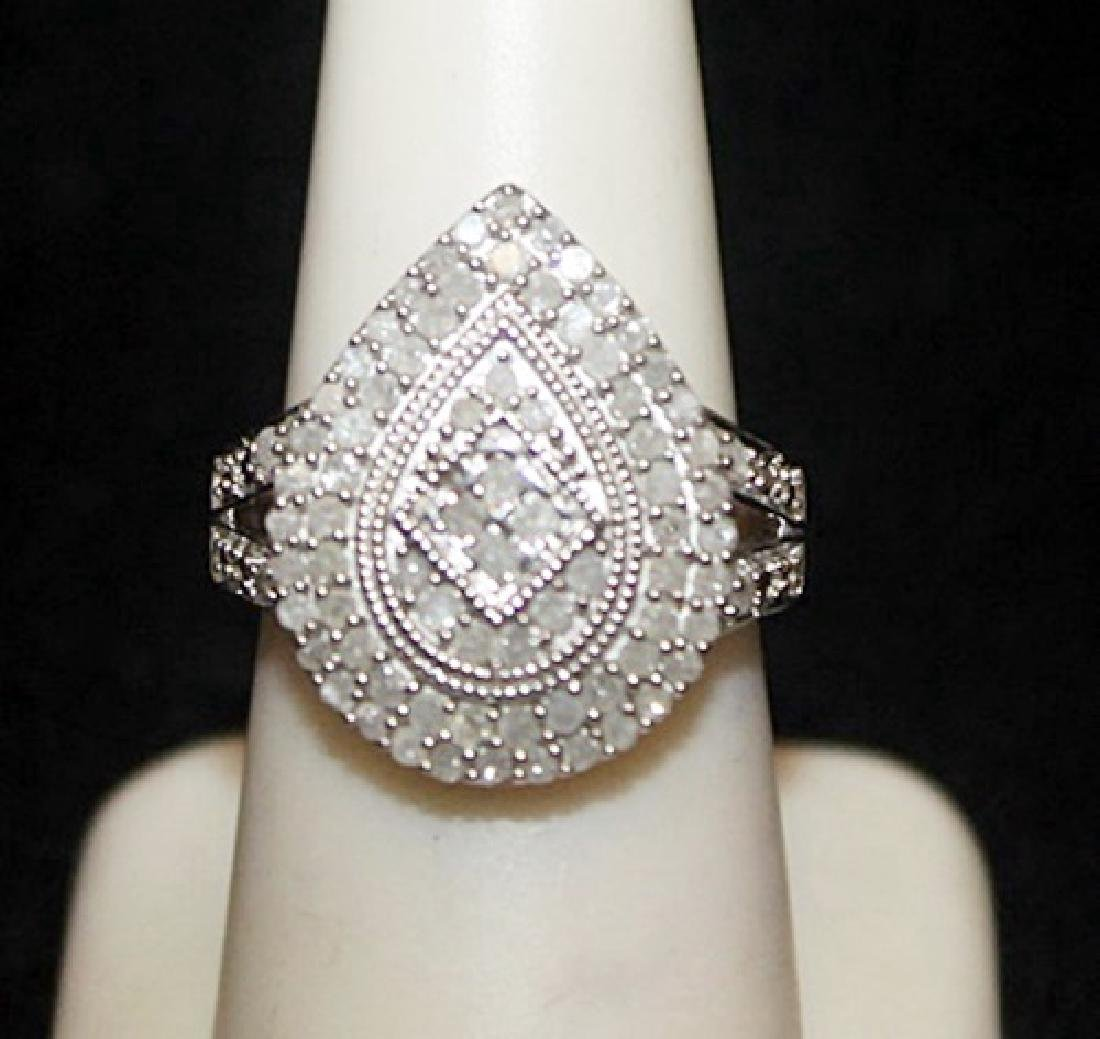 Very Fancy Silver Pear Shape Ring with Cluster Diamonds