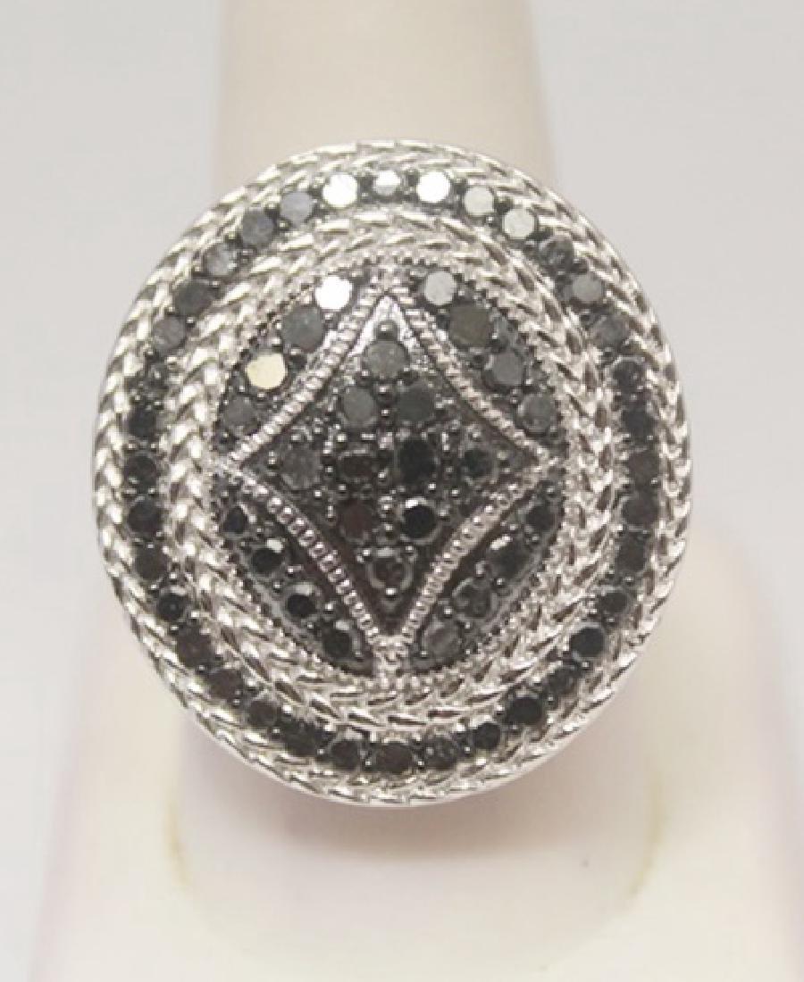 Fine Black Diamonds Silver Ring