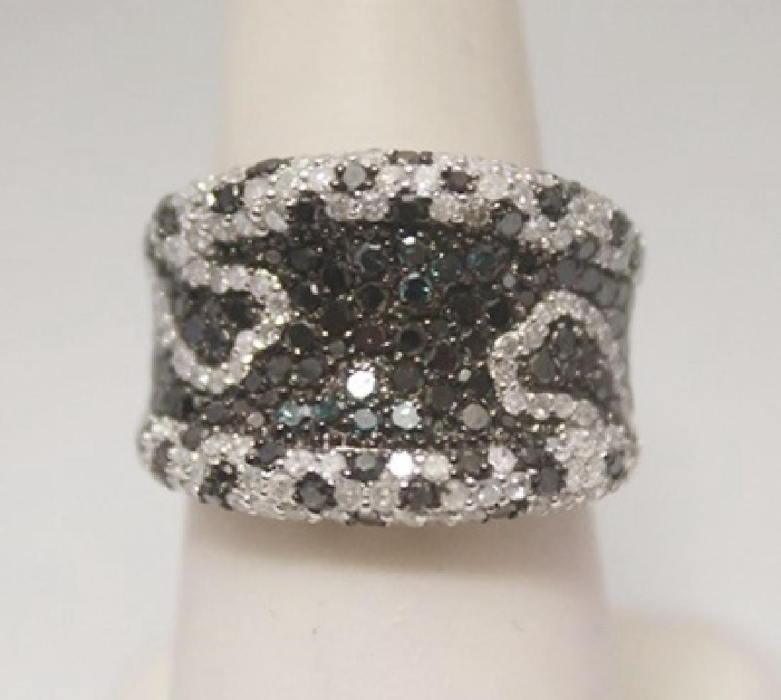 Very Fancy Black, Blue & White Diamonds Silver Ring