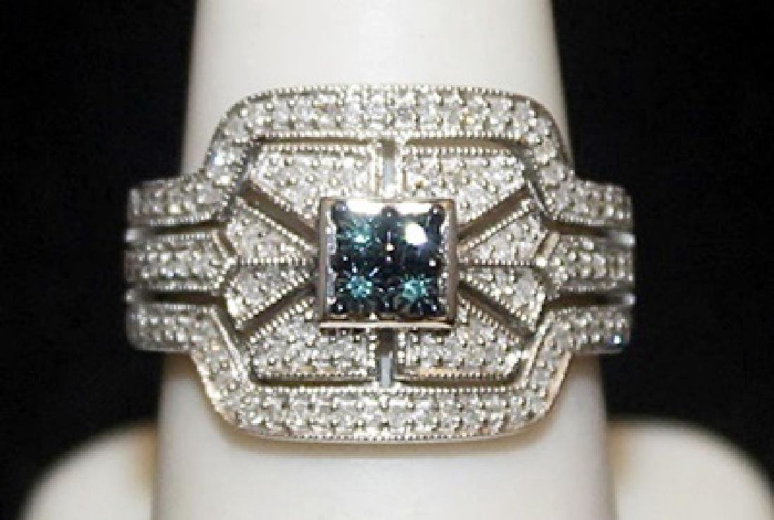 Beautiful Silver Ring with Lab Alexandrite & Diamonds