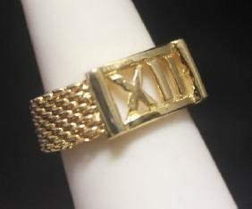 Beautiful 14kt Gold Over Silver Roman Numeral Ring
