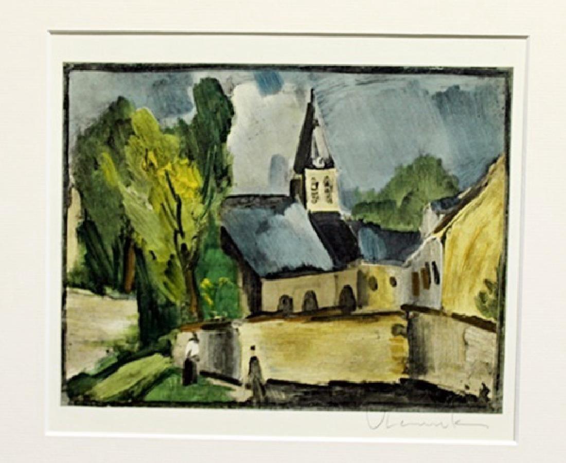 Church At Bougival - Maurice De Vlaminck - Lithograph