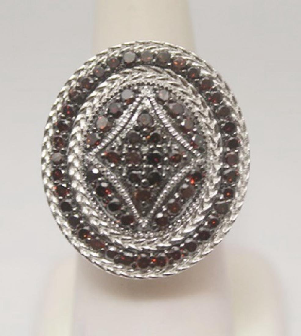 Fine Red & White Diamonds Silver Ring
