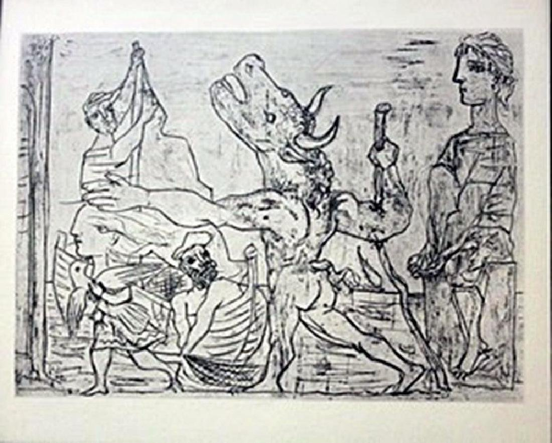 Bull at a shipyard - Lithograph -  Picasso