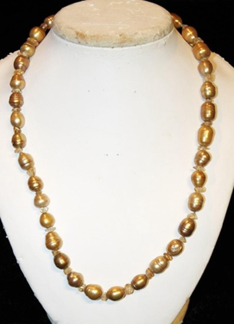 Crystal Copper Color Baroque Pearl Set