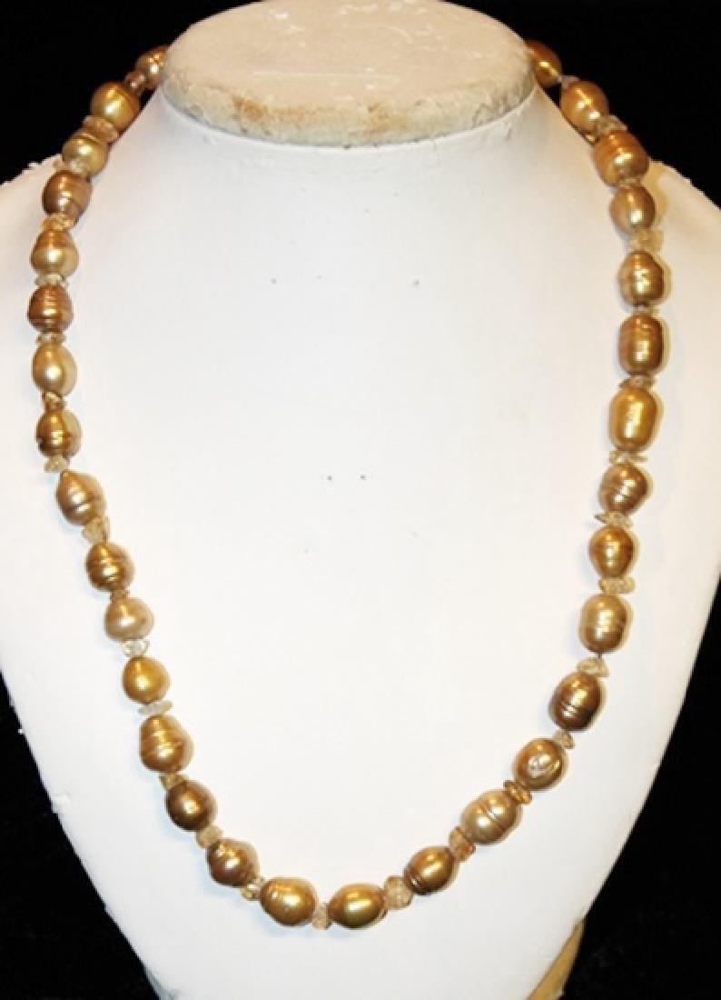 Crystal Copper Color Baroque Pearl Set