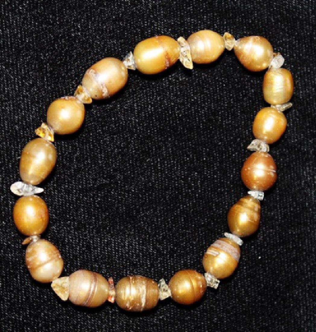 Crystal Copper Color Baroque Pearl Set - 2