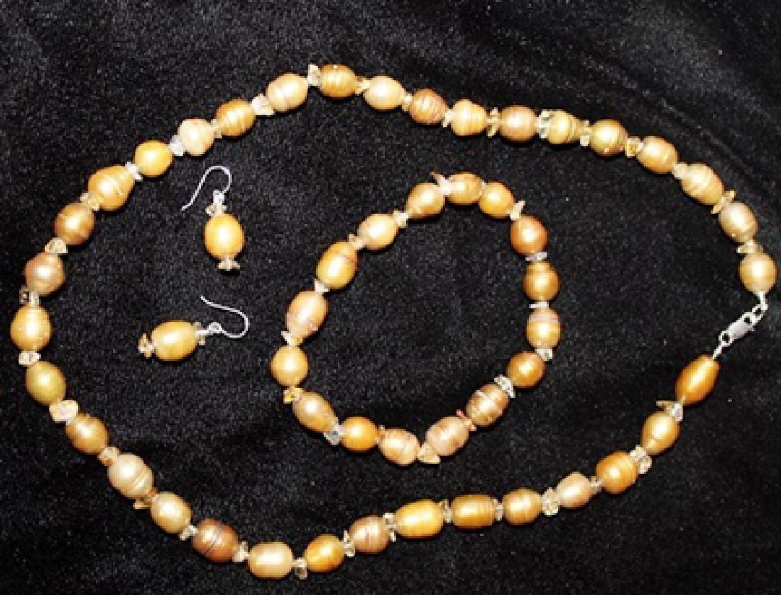 Crystal Copper Color Baroque Pearl Set - 4