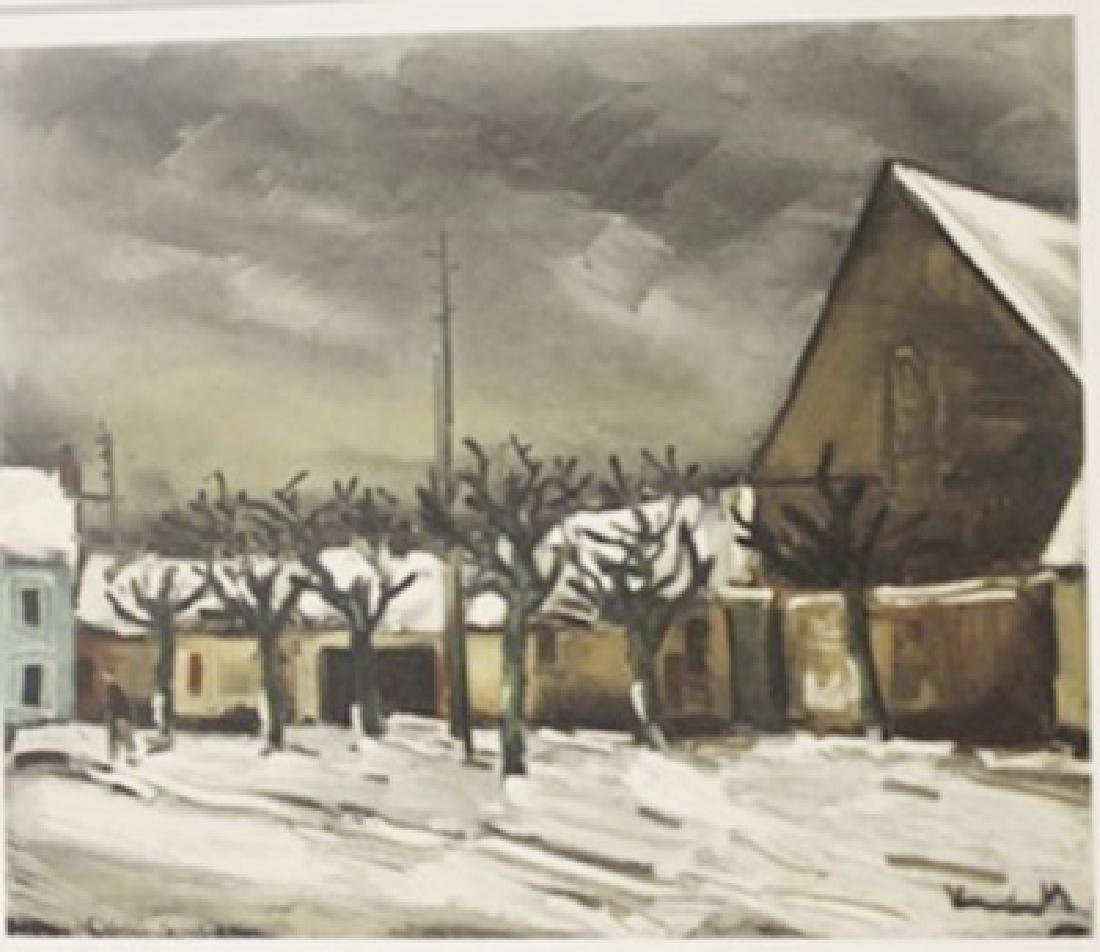 Lime Trees under snow - Lithograph -  Maurice de