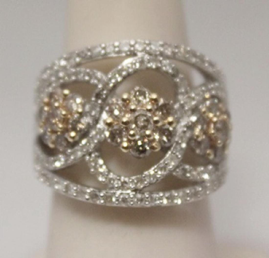 Fancy Champagne & White Diamonds Silver Ring