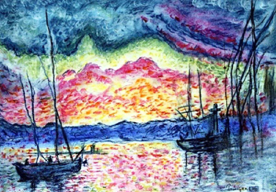 The Port Saint Tropez - Pastel on Paper - Paul Signac