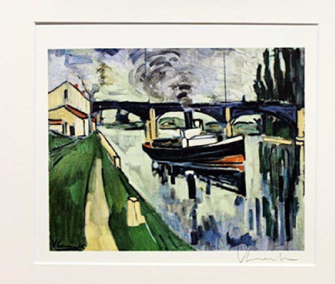 The Seine At Poissy - Maurice De Vlaminck - Lithograph