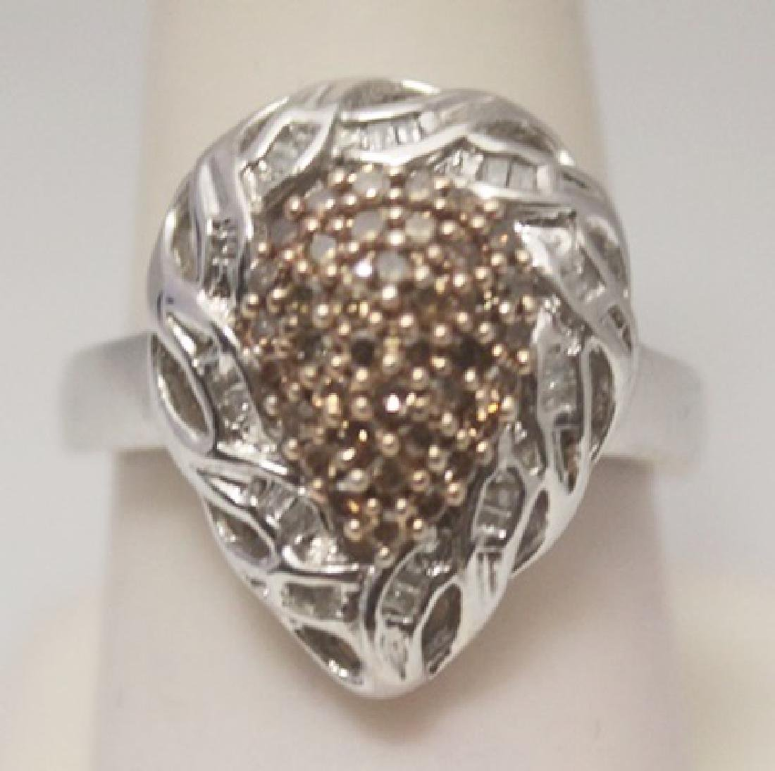 Fancy Pear Shape Champagne & White Silver Ring