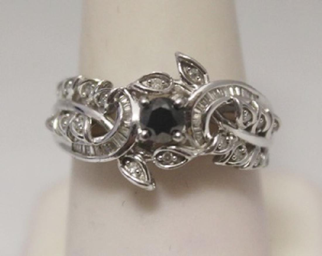 Fancy Black, White & Baguette Diamonds Silver Ring