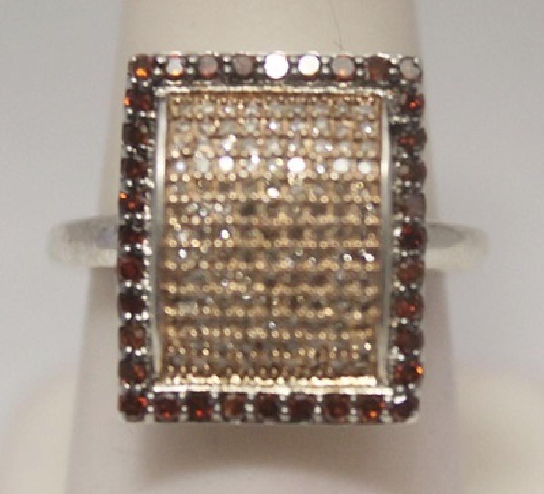 Dazzling Champagne & Red Diamonds Silver Cape Ring