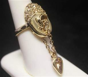 Stunning 14kt Gold over Silver Floating Pear Sapphire
