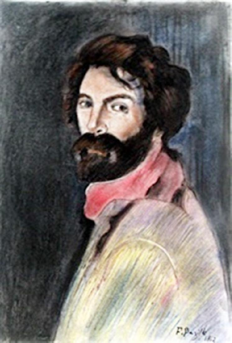 (Self-Portrait) Pastel Drawing on Paper - Frederic