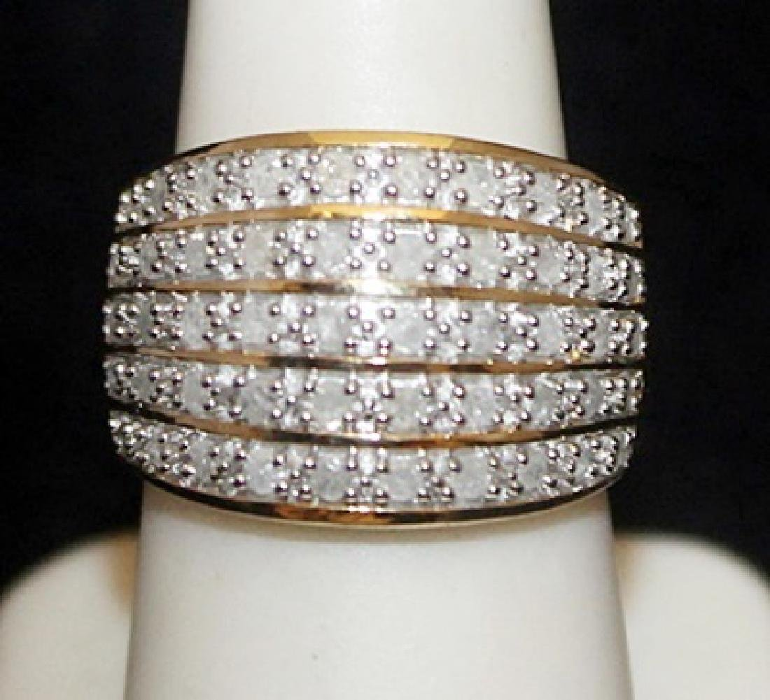 Beautiful 14kt over Silver Ring with Diamonds (102I)