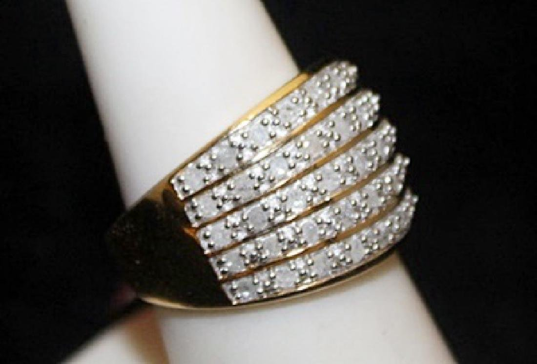 Beautiful 14kt over Silver Ring with Diamonds (102I) - 2
