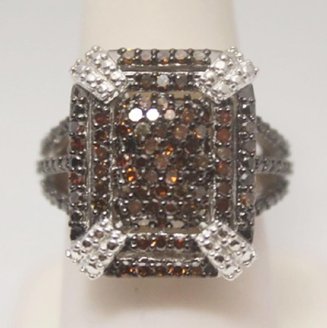 Fancy Red Diamonds Silver Ring