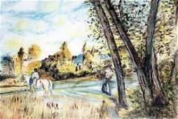 View of the Village - Pastel Drawing - Frederic Bazille