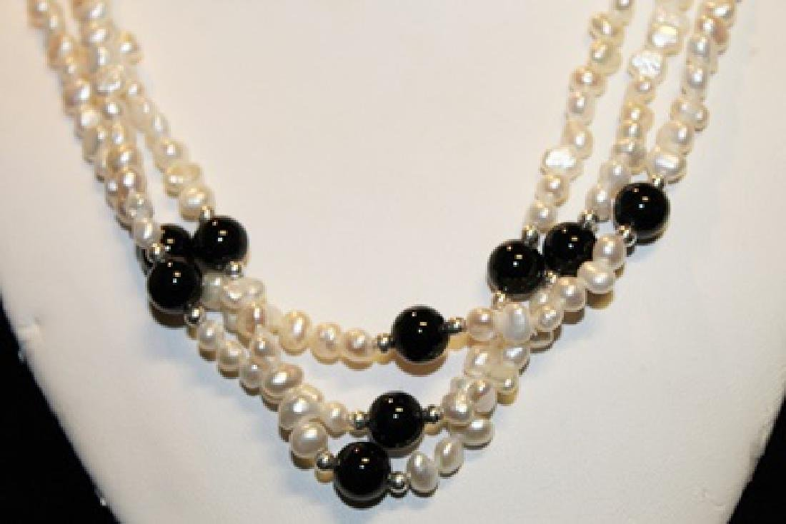 Baroque Ivory/Black Color Pearl Necklace - 3