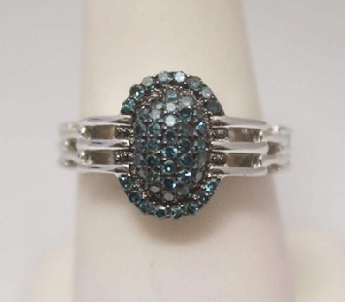 Stunning Blue Diamonds Silver Ring