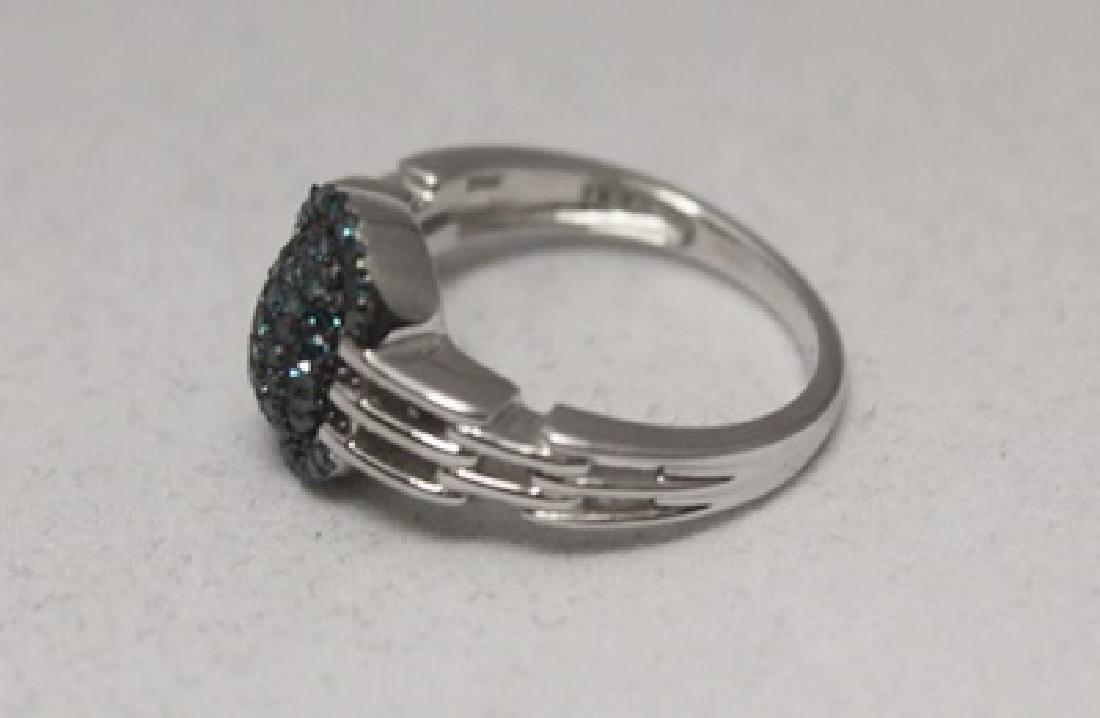 Stunning Blue Diamonds Silver Ring - 2