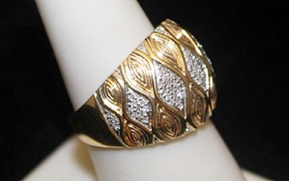 Unisex 14kt over Silver Ring with Diamonds (116I) - 2