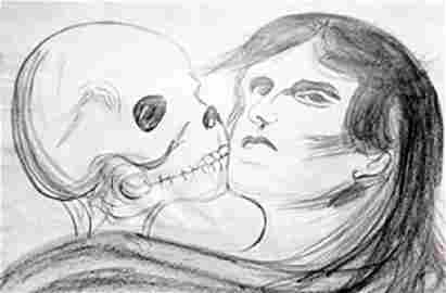 The Lovers 1920' - Drawing on Paper - Edvard Munch
