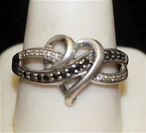 Lady's Fancy Silver Heart Shape Ring with Black