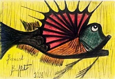 The Fish - Pastel Drawing - Bernard Buffet
