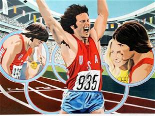 Lithograph Bruce Jenner Decathlon after William