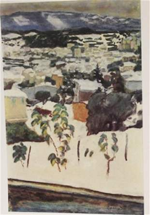 Overlooking the city Signed Lithograph Bonnard