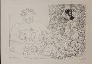 Sculptor at rest Lithograph Picasso