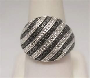 Lavish Black Diamonds Silver Band