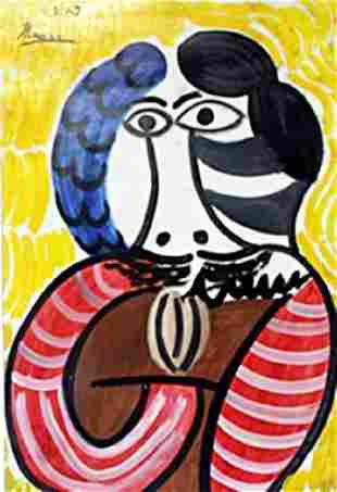 Mousquetaire Oil Painting on Paper Pablo Picasso