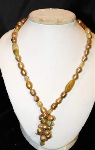 Baroque Copper Color Pearl Necklace