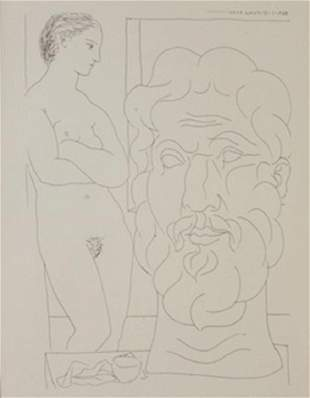 Model and Sculptred head lithograph Picasso