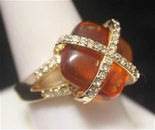 Dazzling 14kt Gold over Silver Citrine Diamonds Ring