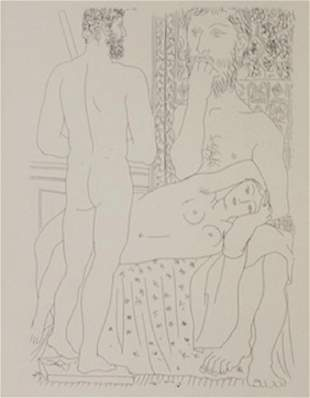 Sculptor seated and statue of man lithograph Picasso