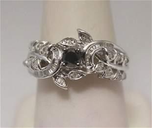 Beautiful Black White Baguette Diamonds Silver Ring
