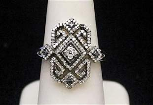 Beautiful Silver Ring with Black White Diamonds