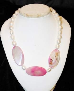 Baroque White Color PearlAgate Necklace