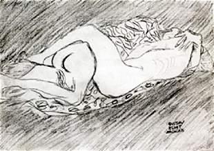 Untitled Graphite Drawing Gustav Klimt