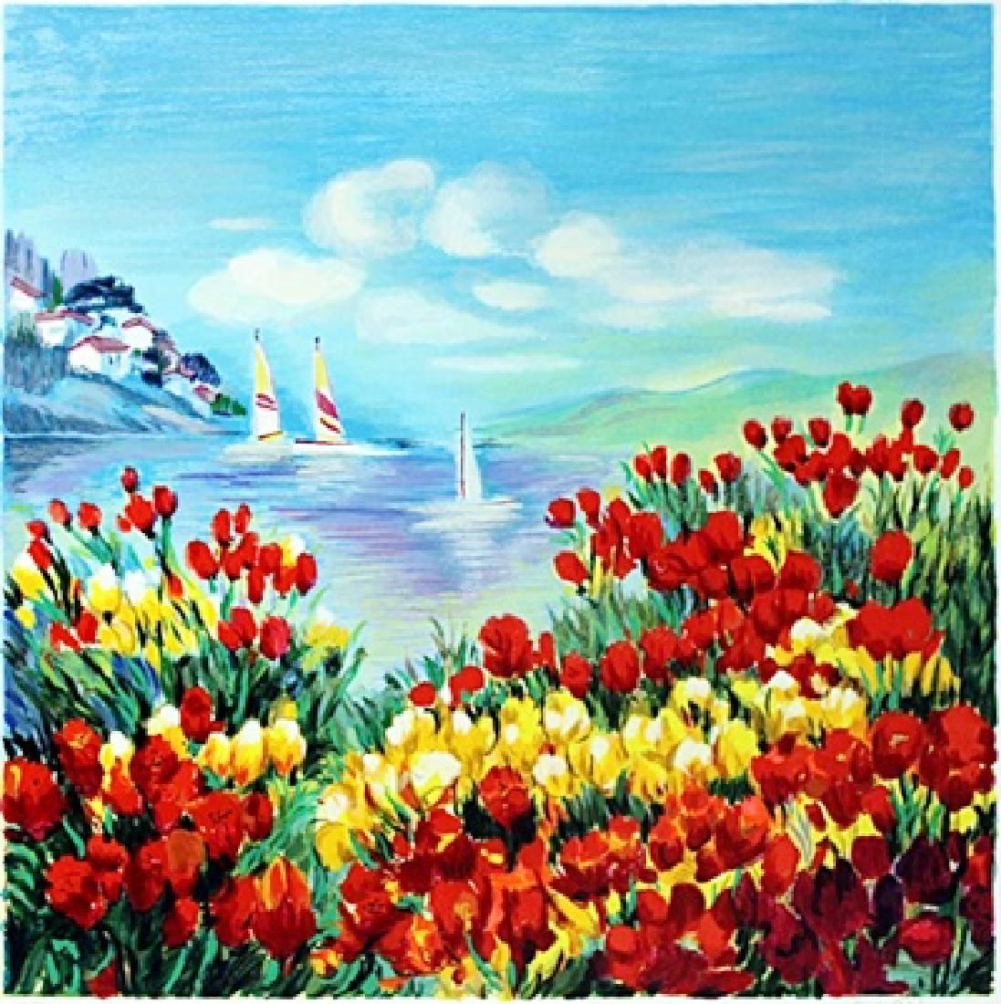 """Serigraph """"Poppies in the Wind"""" after Zina Roitman"""