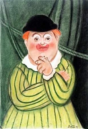 El Payaso Pastel Drawing Fernando Botero
