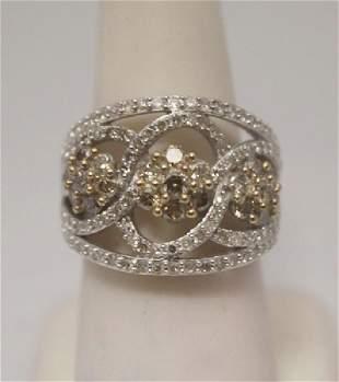 Beautiful Champagne White Diamonds Silver Cape Ring
