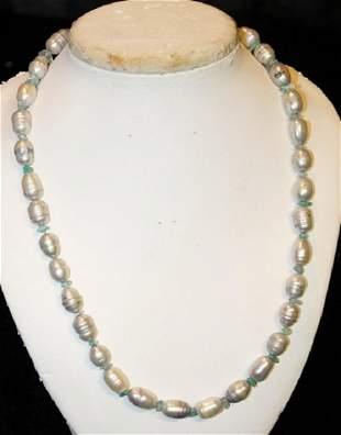 Powder Blue Color Baroque Pearl Set